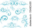 Blue swirling flourishes floral elements - stock vector