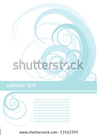 Blue swirly invitation - stock vector