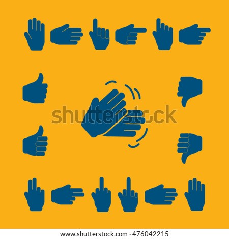 Blue Symbols Hands - vector icon set.