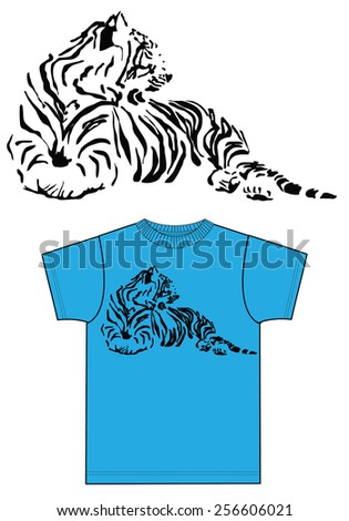 blue t-shirt with tiger print - stock vector