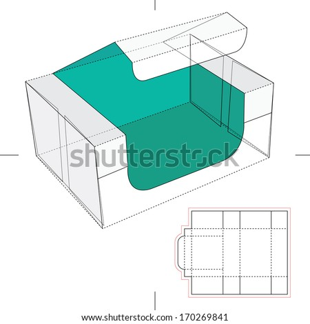 Blue Take one Box with Blueprint Layout - stock vector