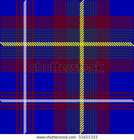 Blue Tartan Fabric - stock vector