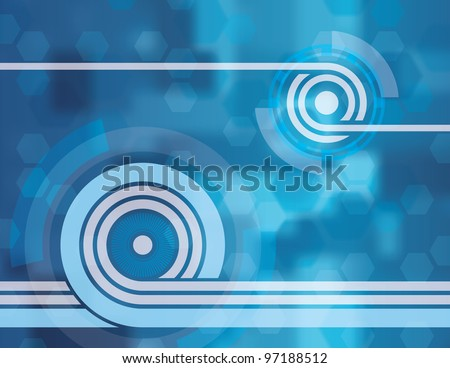 Blue Tech Abstract Background. This was created in Adobe Illustrator and was saved out as an .eps 10 file. This background uses transparencies and gradients in it to achieve some of its effects.