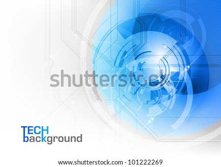 blue tech background on the white - stock vector