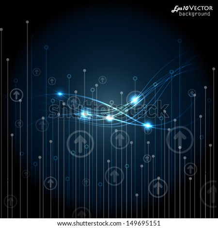 Blue technology background - stock vector