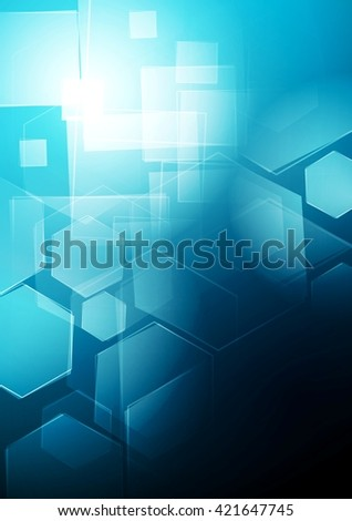 Blue technology geometric background. Vector graphic design - stock vector