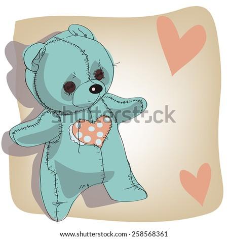 Blue teddy bear. - stock vector