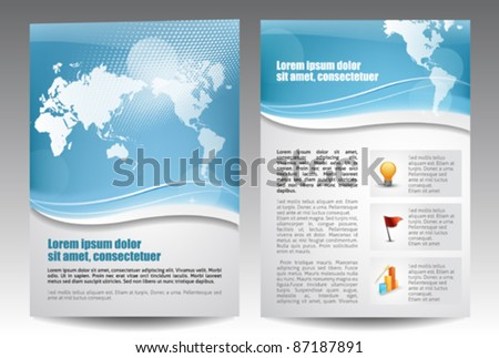 Blue template for advertising brochure - stock vector