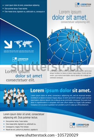 Blue template for advertising brochure with connected people over earth globe. Social network. - stock vector