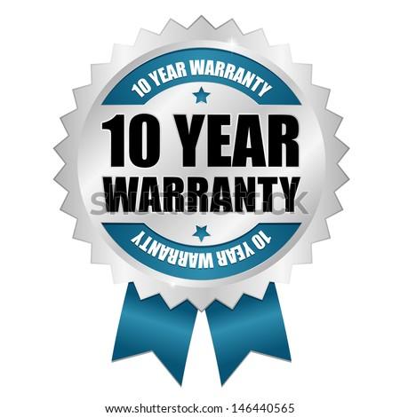 Blue ten years warranty seal - stock vector