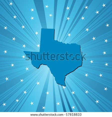 Blue Texas map, abstract background for your design - stock vector