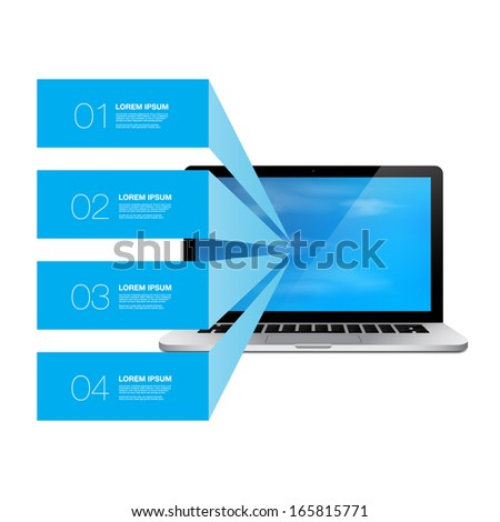 Blue text boxes with realistic 3d laptop computer with blue sky wallpaper  Eps 10 vector illustration   can be used for workflow layout, diagram, chart, number options, web design. - stock vector