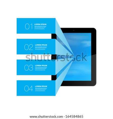 Blue text boxes with realistic 3d tablet computer with blue sky wallpaper  Eps 10 vector illustration  - stock vector