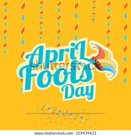 blue  text fool's day over yellow color background - stock vector