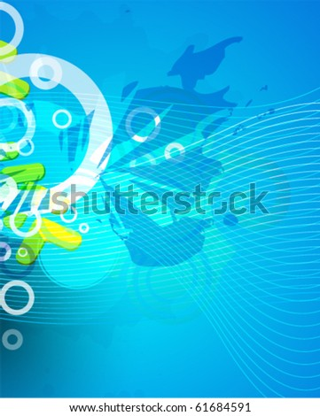 Blue textured blank vector background