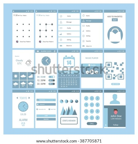 Blue theme Mobile App different user interface elements. - stock vector