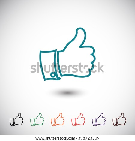 blue thumb up icon - stock vector