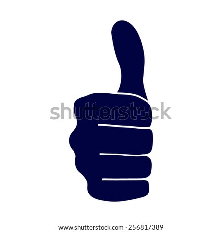 blue thumbs up icon - stock vector