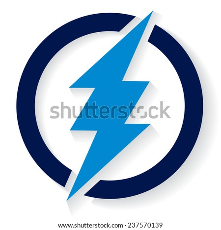 Blue thunder in circle - stock vector