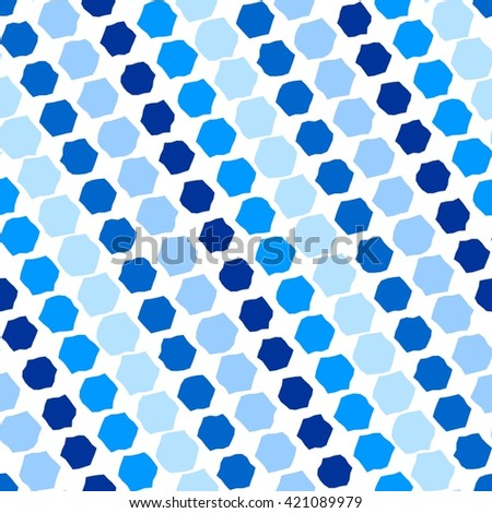 Blue tiles. Seamless pattern with hexagons on white - stock vector