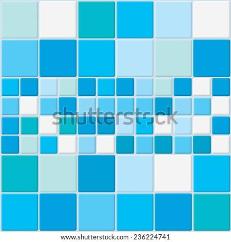 Blue tiles vector background. - stock vector