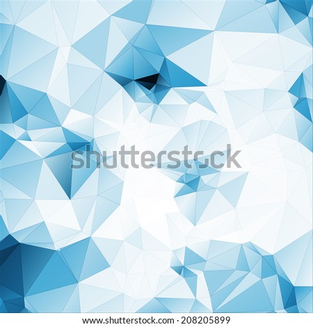 blue tint soft abstract geometric background  stained-glass window vector with stroke