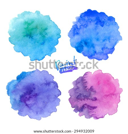 Blue to purple colors vector watercolor splashes set - stock vector