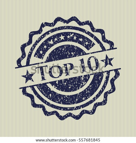 Blue Top 10 grunge style stamp