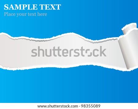 Blue torn paper - stock vector