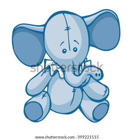 blue toy elephant on white background