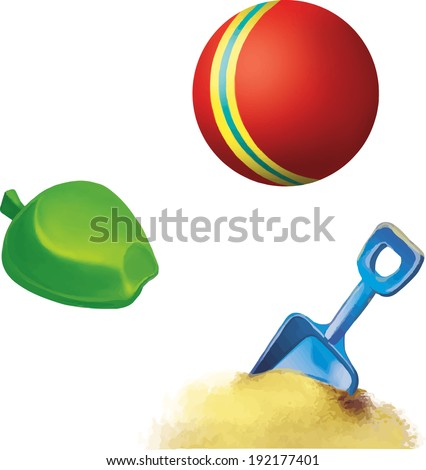 Blue toy spade, Vector illustration of Red ball with yellow and blue stripe. Children toy isolated on white background - stock vector