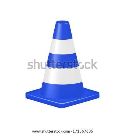 Blue traffic cone  - stock vector