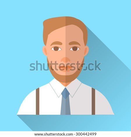 Blue trendy flat square wedding day fiance icon with shadow. Illustration of handsome hipster future husband with short stylish brown hair and beard wearing white shirt, braces and blue tie. - stock vector
