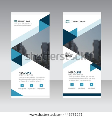 Blue triange Business Roll Up Banner flat design template ,Abstract Geometric banner template Vector illustration set, abstract presentation template - stock vector