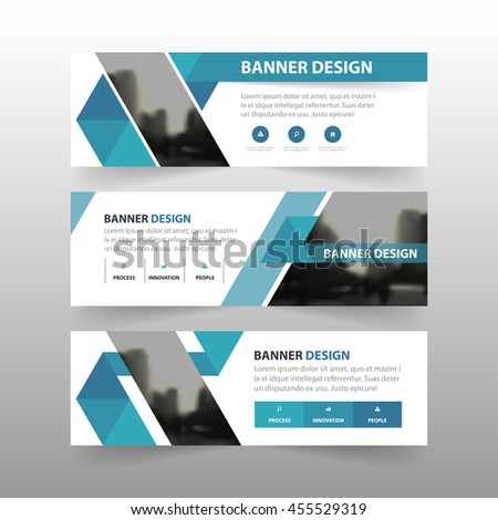 Blue triangle abstract polygon corporate business banner template, horizontal advertising business banner layout template flat design set , clean abstract cover header background for website design - stock vector