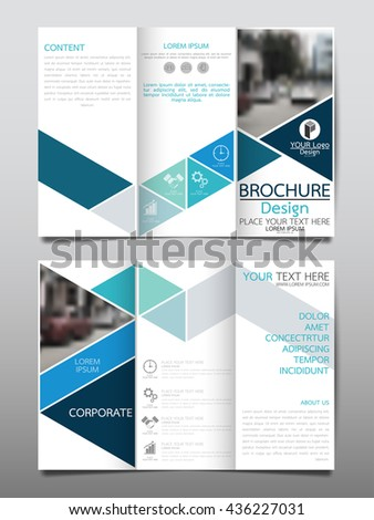 Blue triangle business three fold brochure stock vector for Design studio brochure
