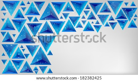 Blue triangle card with glow balls Vector