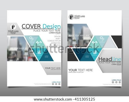 Blue triangle triangle annual report brochure flyer design template vector, Leaflet cover presentation abstract flat background, layout in A4 size - stock vector