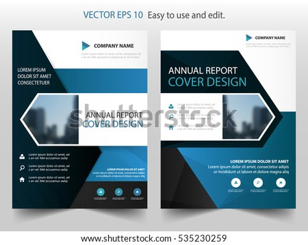 Blue Black Triangle Brochure Annual Report Stock Vector 583251499