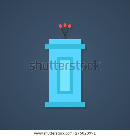 blue tribune icon with shadow. concept of political, event, lecturer, interview, broadcaster, narrator, journalism, voting. flat style trendy modern design vector illustration - stock vector