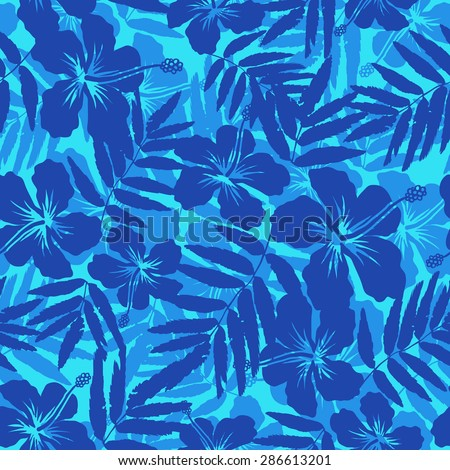 Blue tropical flowers silhouettes vector seamless pattern - stock vector