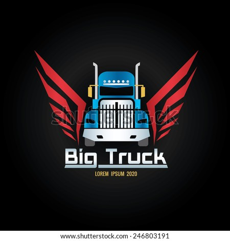 blue truck and red wigs logo screen - stock vector