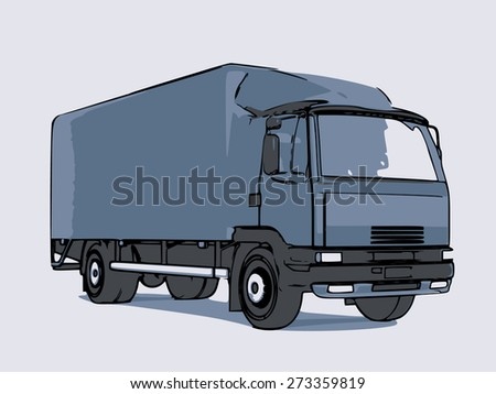 Blue truck of medium size. Illustration with a stroke on a path.