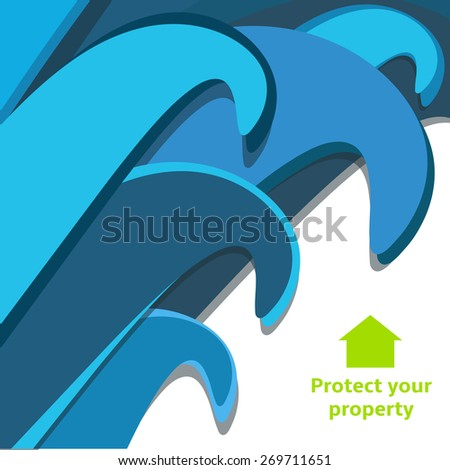 Blue tsunami waves close to destroy house remembering to have insurance - stock vector