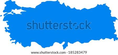 Blue Turkey Vector Map - stock vector
