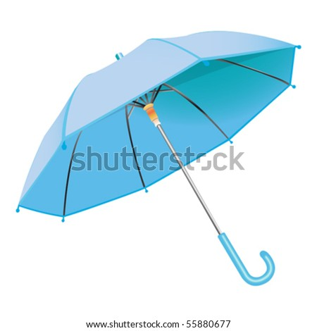 blue umbrella against white background, abstract vector art illustration