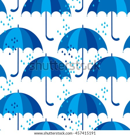 blue umbrella icon flat. cute rain drop seamless pattern on white background. simple vector illustration.