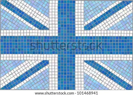 Blue Union Jack. Vintage mosaic style. EPS10 vector format. - stock vector