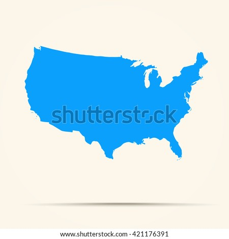 blue united states map ilration