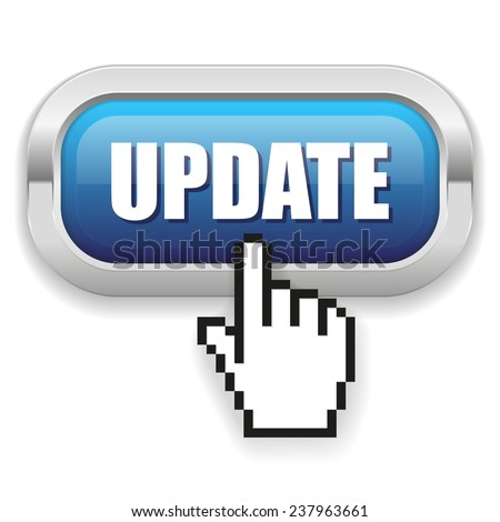 Blue Update Button With Metal Border On White Background